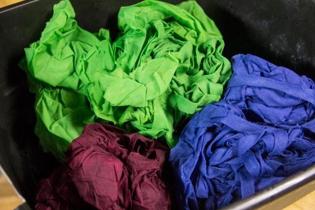 Fabric fresh from the dye baths