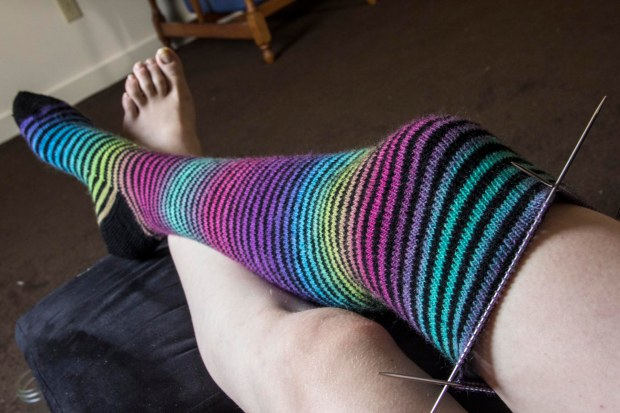 One long rainbow sock almost done, and one long rainbow sock to go.