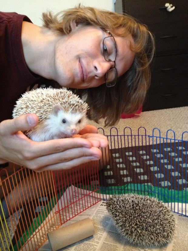 Okay- this has a bit to do with the post, at least- Also generally smiling the way I do when I get to play with, or am in the presence of- Hedgehogs.