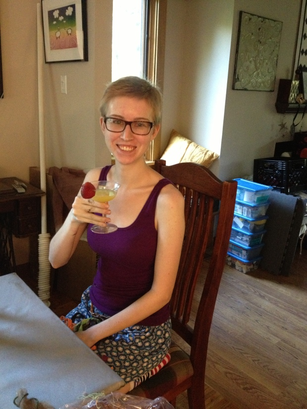 Since we're talking about me growing up- here's my first mixed drink! A Mimosa (which, I learned, is champagne and orange juice- very tasty). My momma made it for me, after a joke we had about drinking Mimosas on the couch while the boys moved all my stuff into my new apartment.