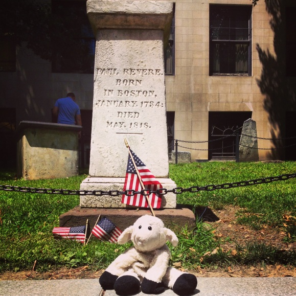 sheep at the paul revere memorial and cemetery in Boston