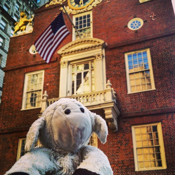 sheep travels to visit the site of the Boston Massacre