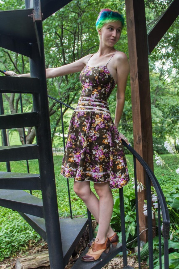 front of floral lace up handmade dress