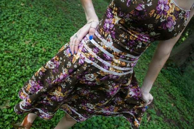 front of brown floral handmade lacing up dress
