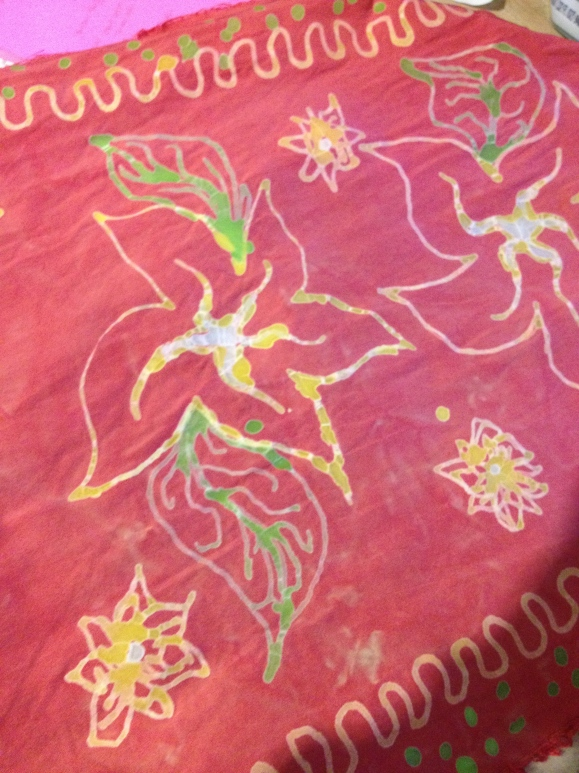 batik headscarf in progress