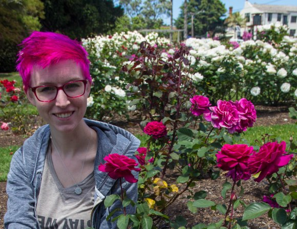 pink hair matches pink flowers