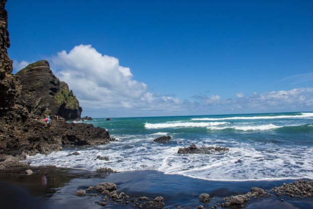 piha south beach at low tide new zealand