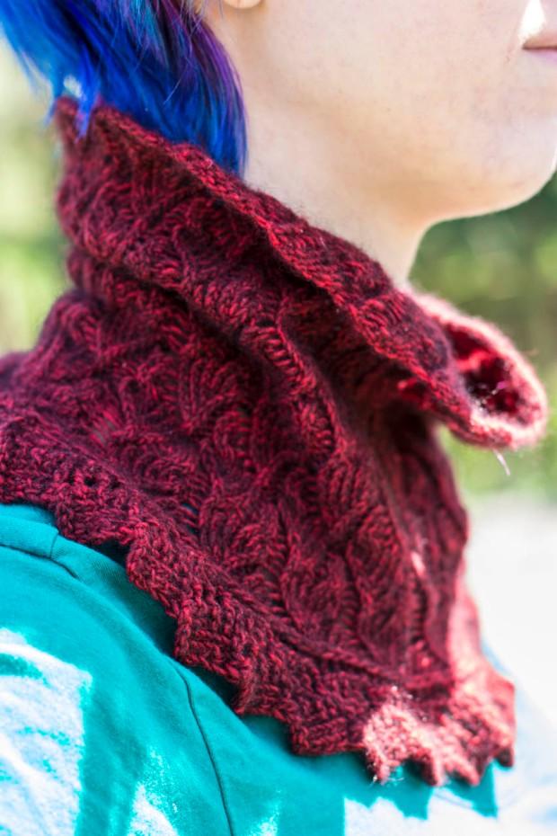 fluffy possum yarn red cowl handknit pattern
