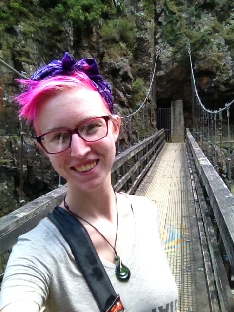 swing bridge selfie karangahake gorge new zealand