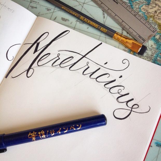 brush pen script word study of Meretricious with kuretake brush pen