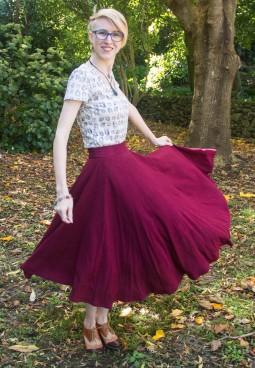 handmade maroon midi circle skirt