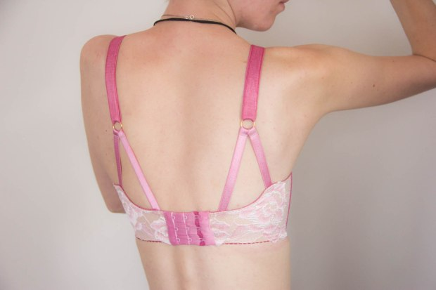 back detail of lace handmade bra with strappy detail